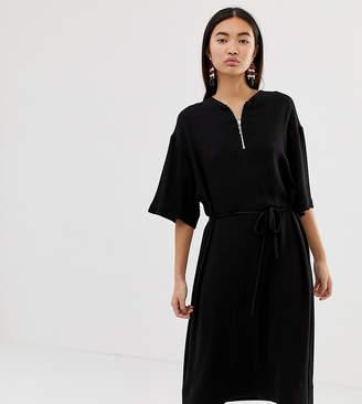 62be3860 Weekday zip front smock dress in black