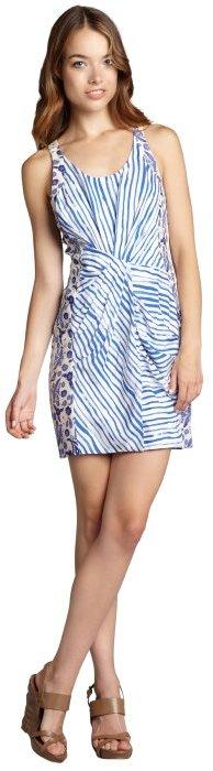 Rebecca Minkoff indigo stripe and paisley print 'Joshua' knotted racerback dress