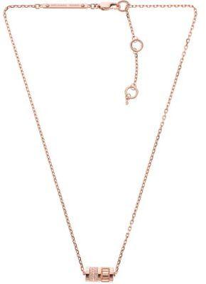 Michael Kors Rose-Gold Tone Pave Barrel Pendant Necklace