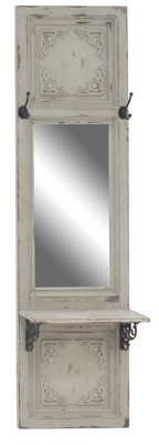 DecMode Decmode Traditional White Wood And Metal Rectangular Wall Mirror With Hooks And Shelf, White