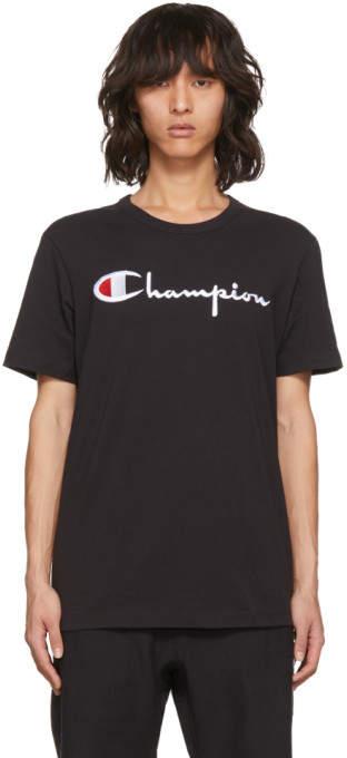Champion Reverse Weave Black Embroidered Logo T-Shirt