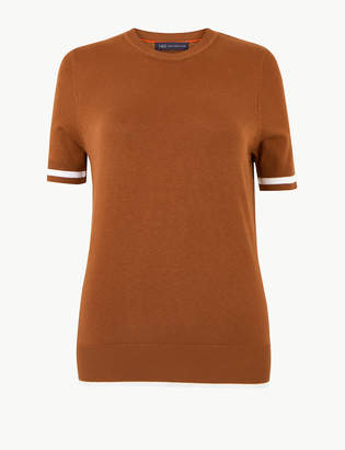 Marks and Spencer Tipped Short Sleeve Knitted Top
