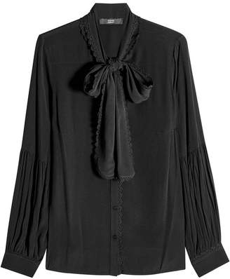 Steffen Schraut Crepe Blouse with Lace
