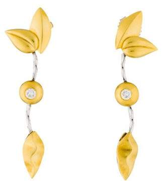 Paul Morelli Diamond Leaf Drop Earrings
