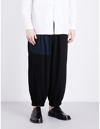 Dropped crotch high-rise woven trousers