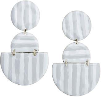 Vineyard Vines Striped Enamel Geometric Link Earrings