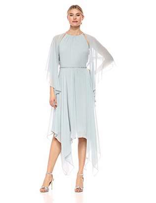 SL Fashions Women's Chiffon Capelet Sleeve Beaded High Neck Dress