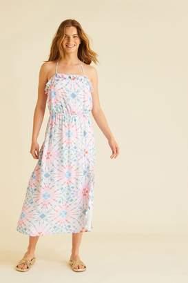 Oliver Bonas Womens Tie Dye Midi Dress - Pink