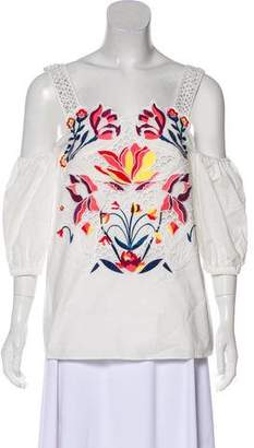 Tanya Taylor Embroidered Cold-Shoulder Top w/ Tags