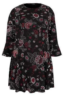 Yours Clothing Women's Plus Size Floral Print Jersey Peplum Top With Flute Sleeves