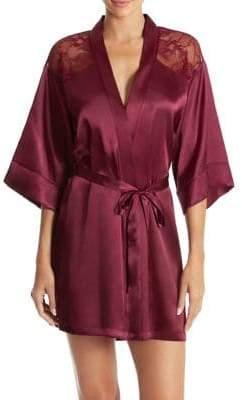 In Bloom Glisten Satin & Lace Short Wrap Robe