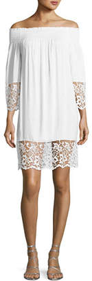 Lise Charmel Plage et Ville Off-the-Shoulder Lace-Trim Dress, White