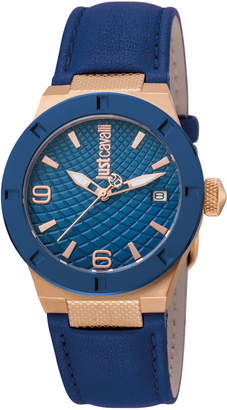 Just Cavalli 34mm Rock Watch w/ Leather Strap, Rose Golden/Navy