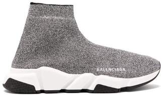 Balenciaga Speed High Top Lame Sock Trainers - Womens - Silver