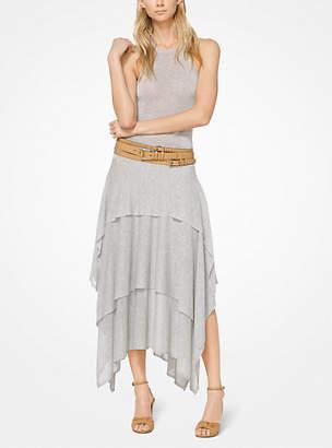 Michael Kors Tiered Viscose And Linen Tank Dress