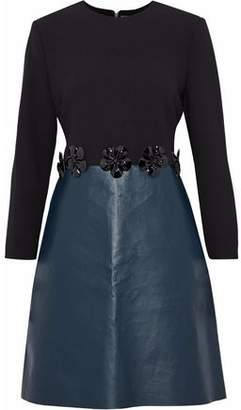 Victoria Victoria Beckham Floral-Appliquéd Wool-Crepe And Faux Leather Dress