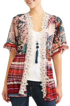 Truself Women's 3fer Kimono with Tank and Necklace