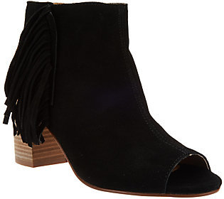 As Is Kensie Suede Open-toe Booties with Side Fringe - Erika $60 thestylecure.com