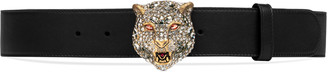Leather belt with crystal feline head $795 thestylecure.com