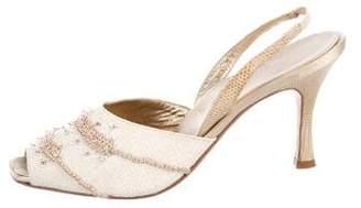 Rene Caovilla Canvas Slingback Sandals