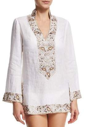 Flora Bella Viceroy Beaded Linen Short Coverup Tunic, White $500 thestylecure.com