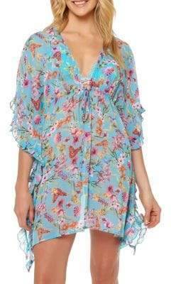 Jessica Simpson Frilled Chiffon Cover Up