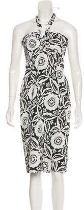 Michael Kors Printed Halter Midi Dress Black Printed Halter Midi Dress