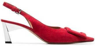 Marni red buckle 60 suede leather slingback pumps