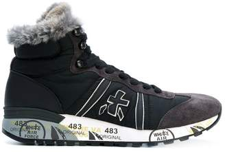 Premiata White fox fur lined hi tops
