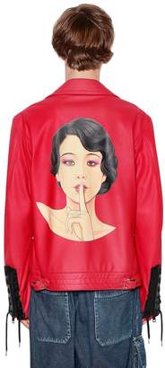 Yohji Yamamoto Hand-Painted Leather Jacket W/ Laces