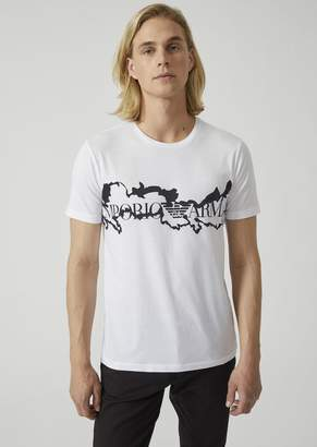 Emporio Armani T-Shirt In Lightweight Cotton Jersey With Contrasting Logo Print