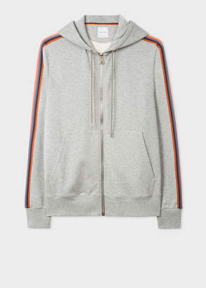 Paul Smith Men's Grey Marl Zip-Front 'Artist Stripe' Hoodie