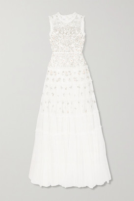 Needle & Thread Ruffled Embellished Tulle Gown - Ivory