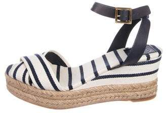 Tory Burch Canvas Ankle Strap Wedges