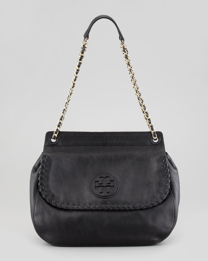 Tory Burch Marion Leather Saddle Bag, Black