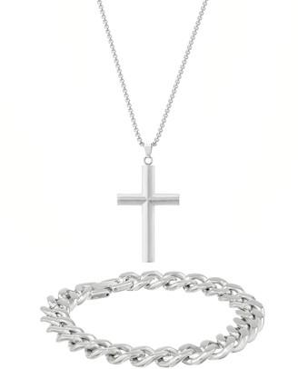 Lynx Men's Stainless Steel Cross & Chain Bracelet Set