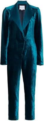 Mira Mikati rear embroidered velvet jumpsuit