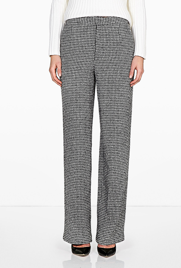 Theyskens' Theory Footh Pedry Straight Leg Houndstooth Trousers
