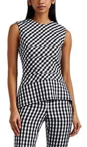 Narciso Rodriguez Women's Gingham-Weave Wool Peplum Top - White, Blk