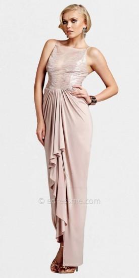 Mignon Sheer Bodice Boat Neck Draped Evening Dresses