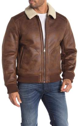 Lucky Brand Distressed Faux Leather Faux Fur Jacket