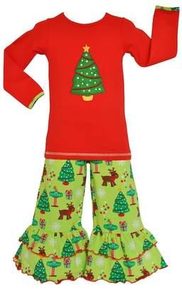 AnnLoren Red & Green Tree Tunic & Flare Pants Set (Baby & Toddler Girls)