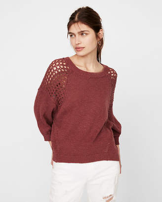 Express Mesh Shoulder Crew Neck Sweater