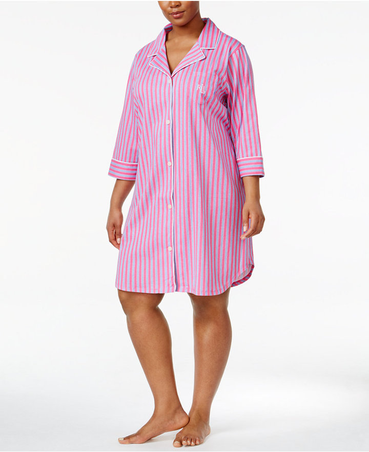 Lauren Ralph LaurenLauren Ralph Lauren Plus Size Cotton Knit Sleepshirt