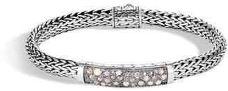 John Hardy Classic Chain Station Bracelet With White And Grey Diamonds