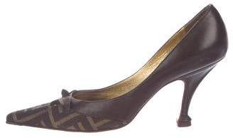 Fendi Zucca Pointed-Toe Pumps