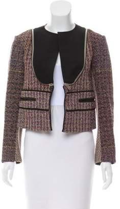 Celine Leather-Trimmed Tweed Jacket
