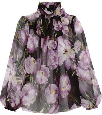 Dolce & Gabbana - Floral-print Silk-chiffon Blouse - Lavender $1,095 thestylecure.com