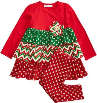 Bonnie Jean Toddler Girls 2-Pc. Holiday Ruffle Tunic & Leggings Set