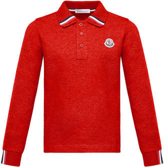 Moncler Long-Sleeve Polo Half-Button Shirt, Red, Size 4-6